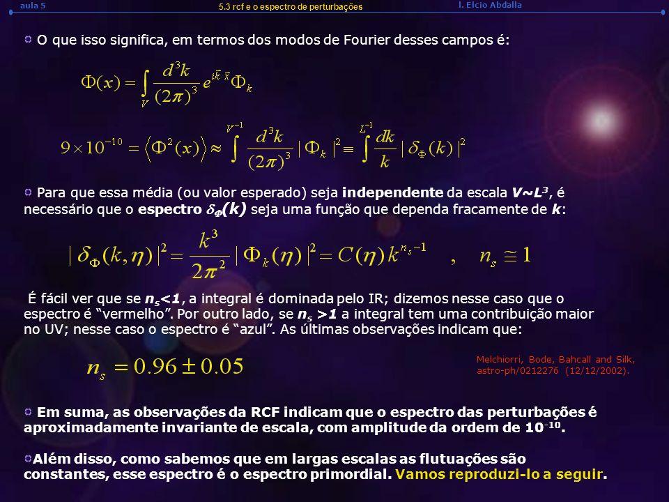 O que isso significa, em termos dos modos de Fourier desses campos é: