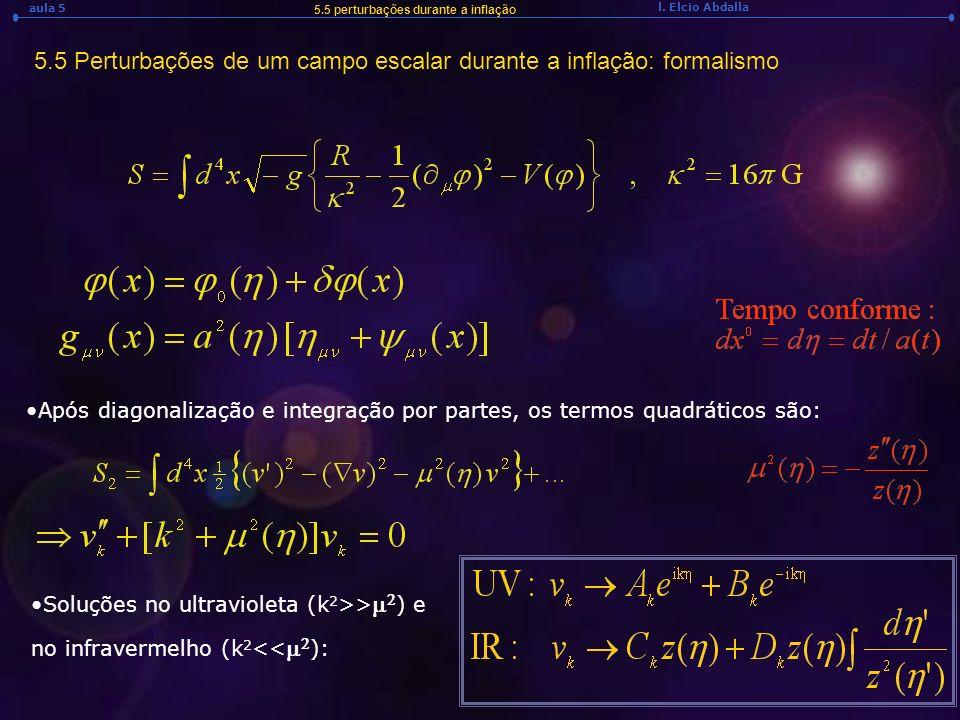 5.5 Perturbações de um campo escalar durante a inflação: formalismo