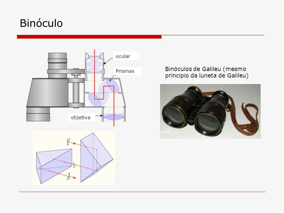 Binóculo Binóculos de Galileu (mesmo principio da luneta de Galileu)