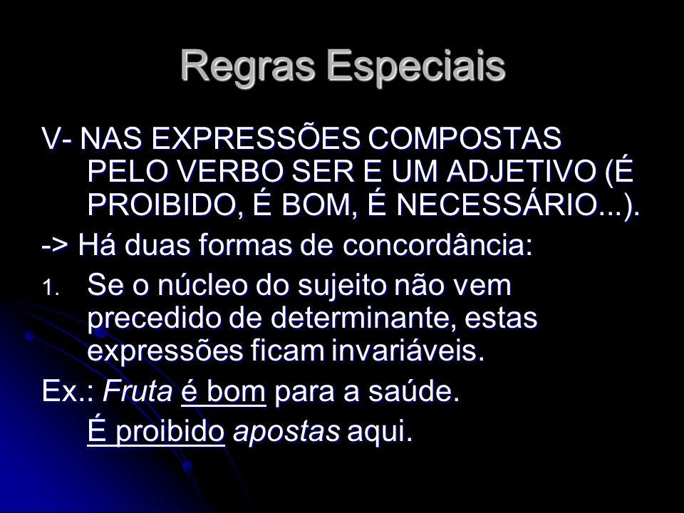 Regras Especiais V- NAS EXPRESSÕES COMPOSTAS PELO VERBO SER E UM ADJETIVO (É PROIBIDO, É BOM, É NECESSÁRIO...).