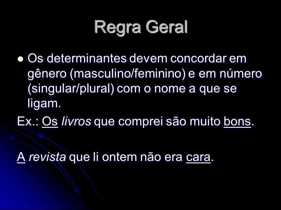 Regra Geral Os determinantes devem concordar em gênero (masculino/feminino) e em número (singular/plural) com o nome a que se ligam.