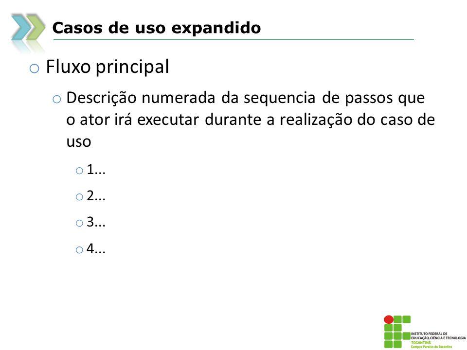 Casos de uso expandido Fluxo principal. Descrição numerada da sequencia de passos que o ator irá executar durante a realização do caso de uso.