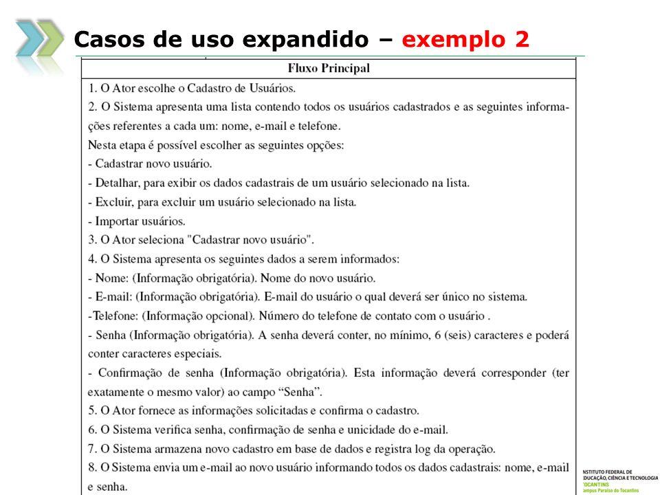 Casos de uso expandido – exemplo 2