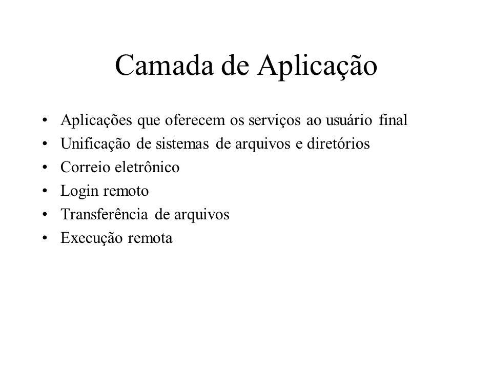 Camada de AplicaçãoAplicações que oferecem os serviços ao usuário final. Unificação de sistemas de arquivos e diretórios.