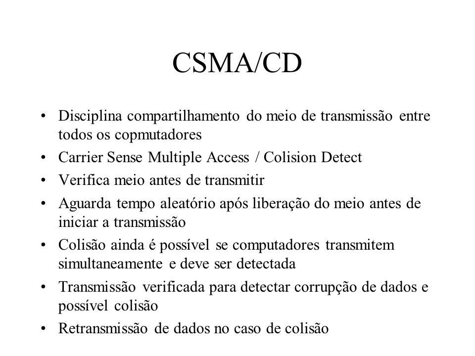 CSMA/CD Disciplina compartilhamento do meio de transmissão entre todos os copmutadores. Carrier Sense Multiple Access / Colision Detect.