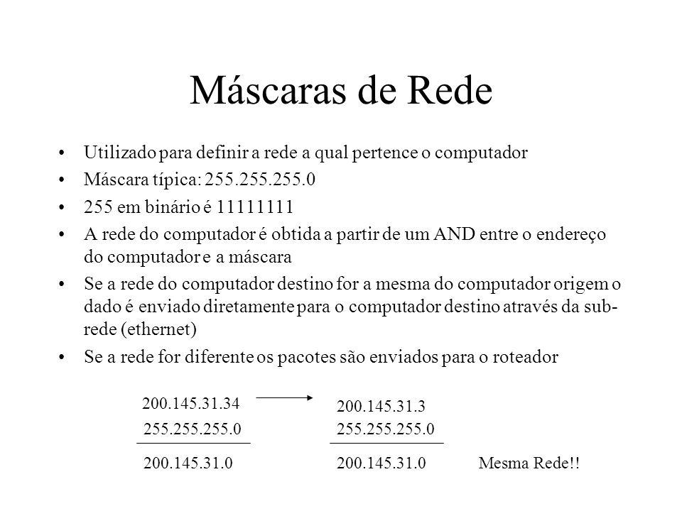 Máscaras de RedeUtilizado para definir a rede a qual pertence o computador. Máscara típica: 255.255.255.0.