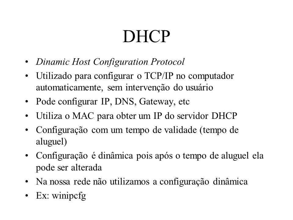 DHCP Dinamic Host Configuration Protocol