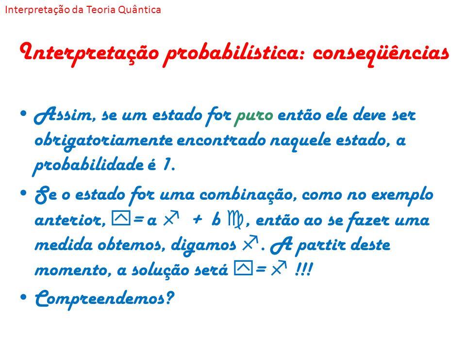 Interpretação probabilística: conseqüências