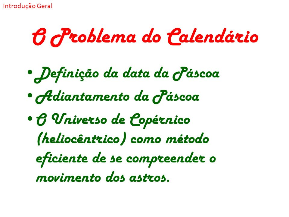 O Problema do Calendário