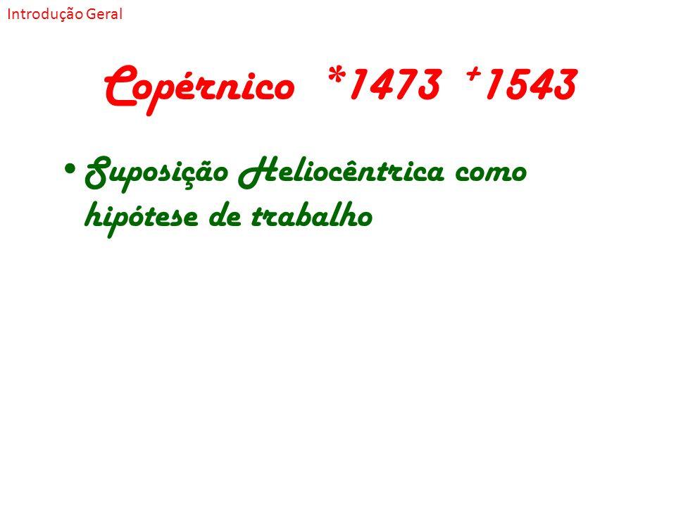 Introdução Geral Copérnico *1473 +1543 Suposição Heliocêntrica como hipótese de trabalho