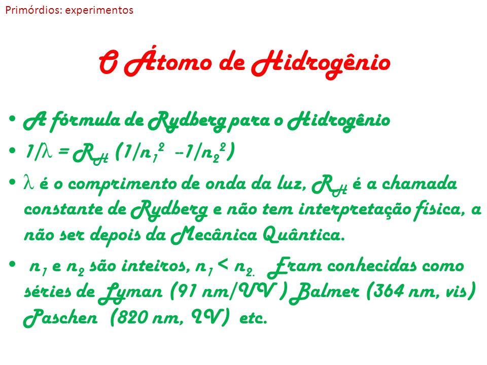 O Átomo de Hidrogênio A fórmula de Rydberg para o Hidrogênio