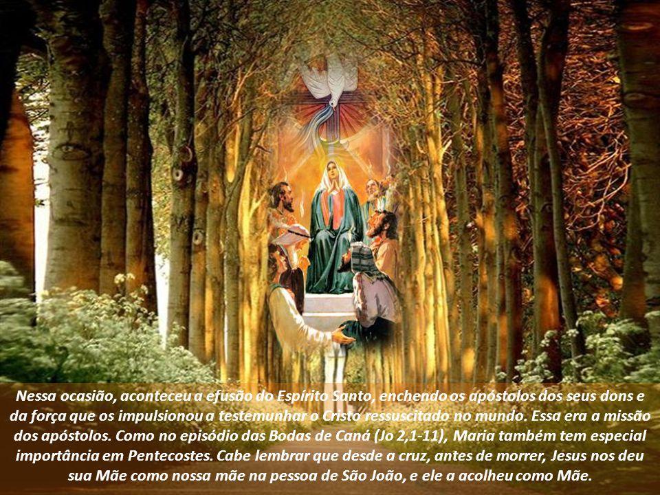 Nessa ocasião, aconteceu a efusão do Espírito Santo, enchendo os apóstolos dos seus dons e da força que os impulsionou a testemunhar o Cristo ressuscitado no mundo. Essa era a missão dos apóstolos. Como no episódio das Bodas de Caná (Jo 2,1-11), Maria também tem especial importância em Pentecostes. Cabe lembrar que desde a cruz, antes de morrer, Jesus nos deu sua Mãe como nossa mãe na pessoa de São João, e ele a acolheu como Mãe.
