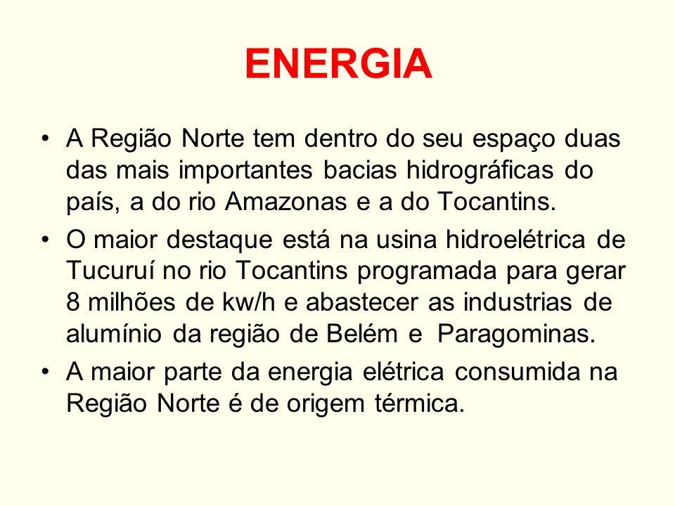 ENERGIA A Região Norte tem dentro do seu espaço duas das mais importantes bacias hidrográficas do país, a do rio Amazonas e a do Tocantins.