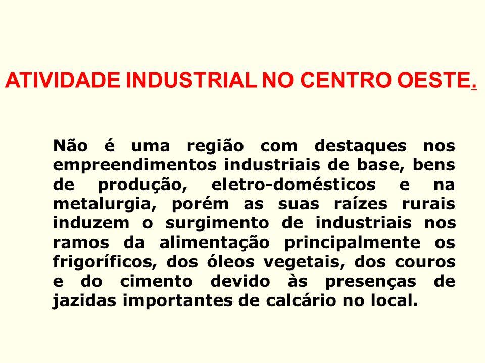 ATIVIDADE INDUSTRIAL NO CENTRO OESTE.