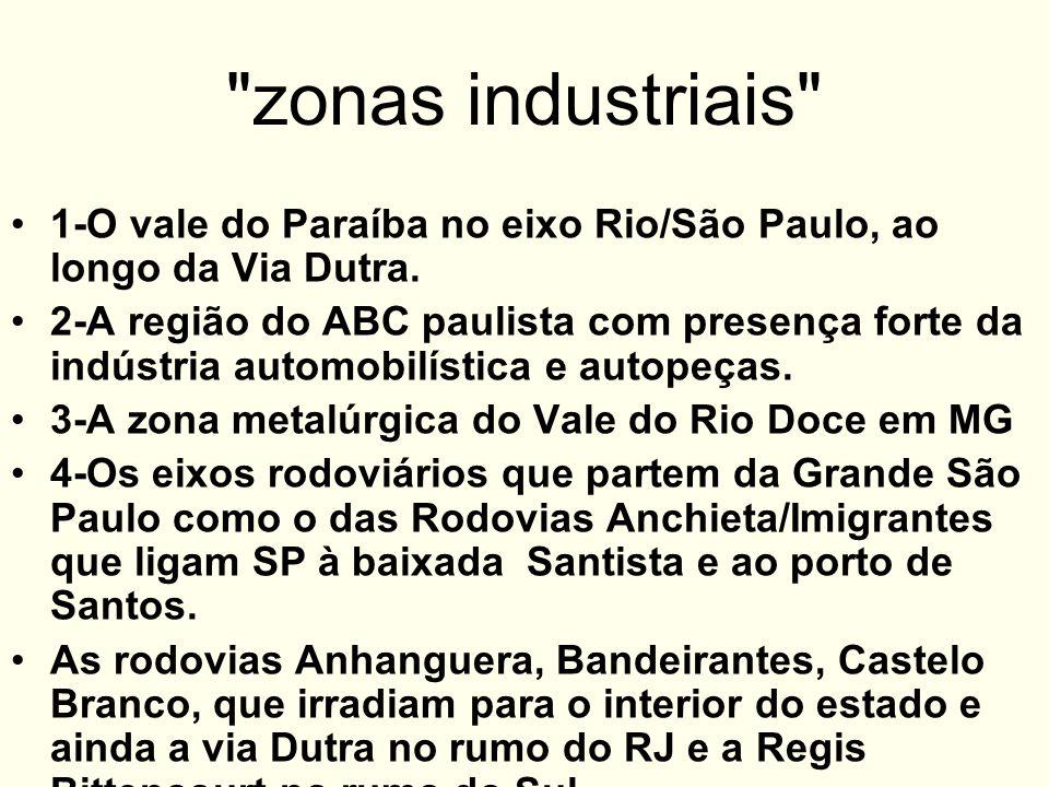 zonas industriais 1-O vale do Paraíba no eixo Rio/São Paulo, ao longo da Via Dutra.