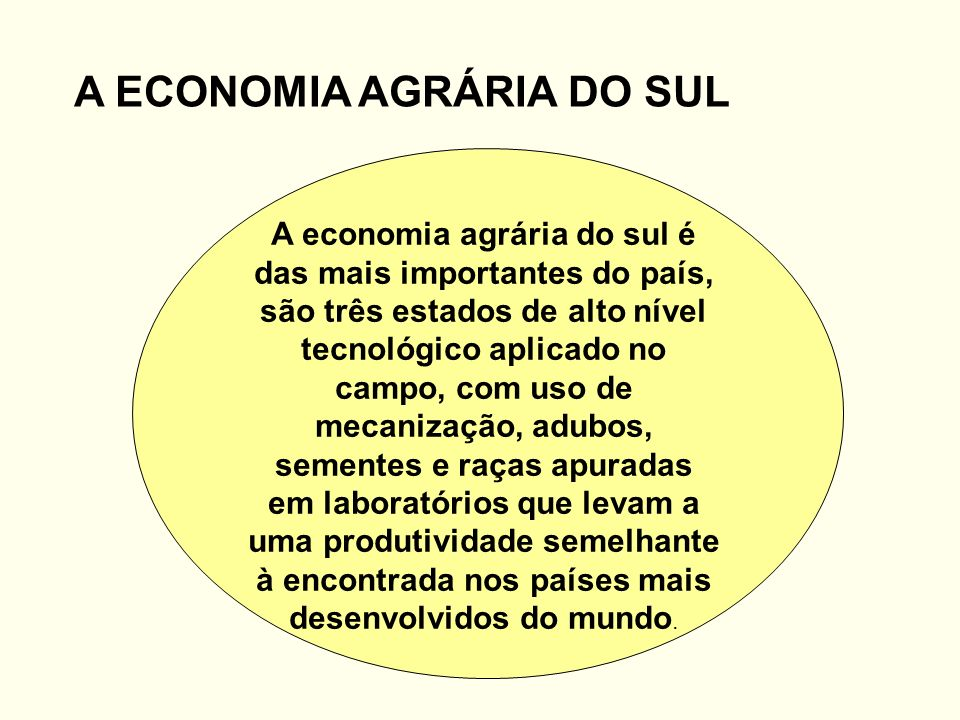 A ECONOMIA AGRÁRIA DO SUL