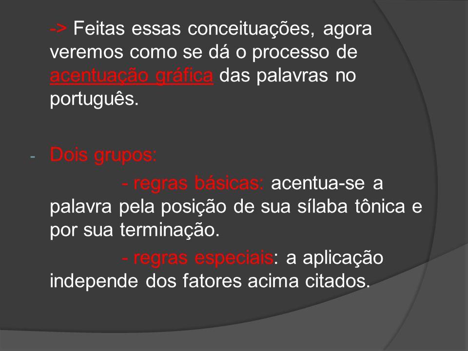 -> Feitas essas conceituações, agora veremos como se dá o processo de acentuação gráfica das palavras no português.
