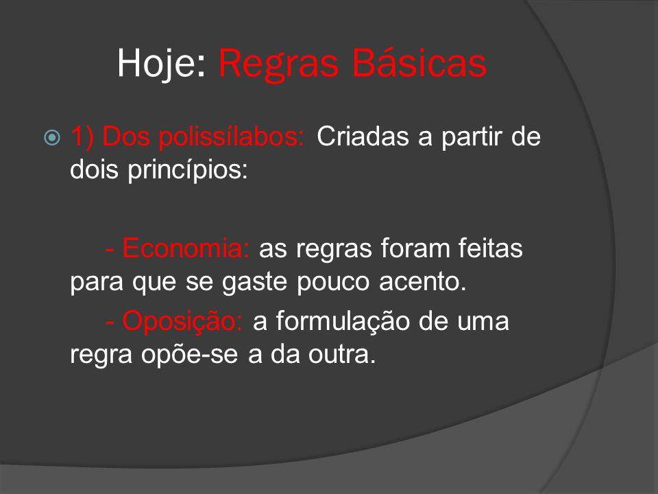 Hoje: Regras Básicas 1) Dos polissílabos: Criadas a partir de dois princípios: - Economia: as regras foram feitas para que se gaste pouco acento.