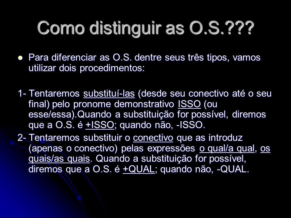 Como distinguir as O.S. Para diferenciar as O.S. dentre seus três tipos, vamos utilizar dois procedimentos: