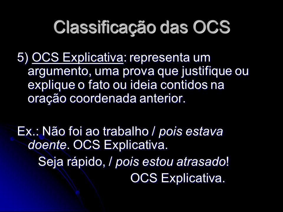 Classificação das OCS