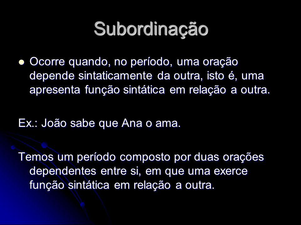 Subordinação Ocorre quando, no período, uma oração depende sintaticamente da outra, isto é, uma apresenta função sintática em relação a outra.