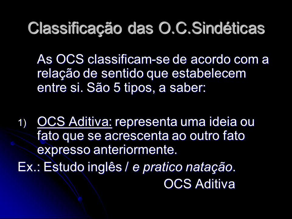 Classificação das O.C.Sindéticas