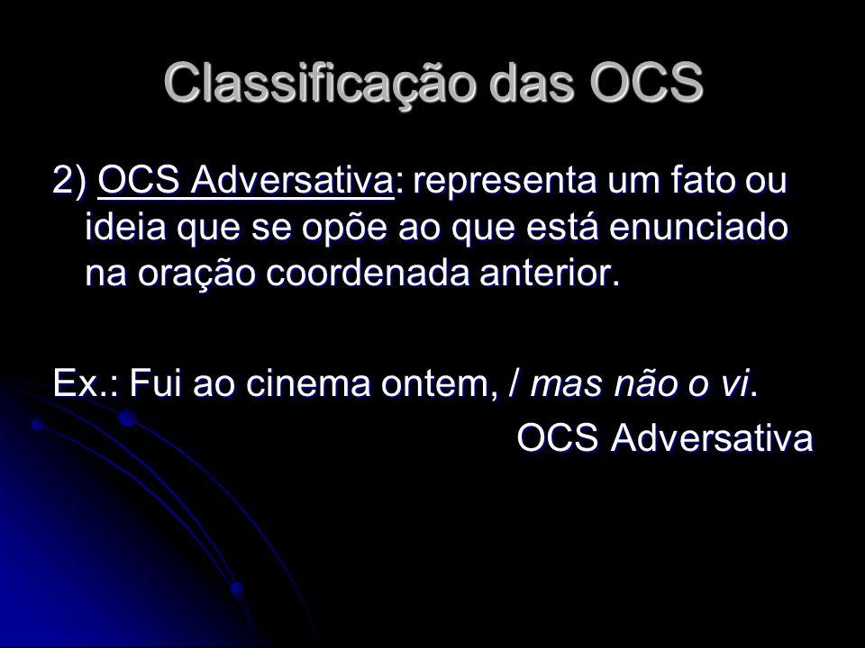 Classificação das OCS 2) OCS Adversativa: representa um fato ou ideia que se opõe ao que está enunciado na oração coordenada anterior.