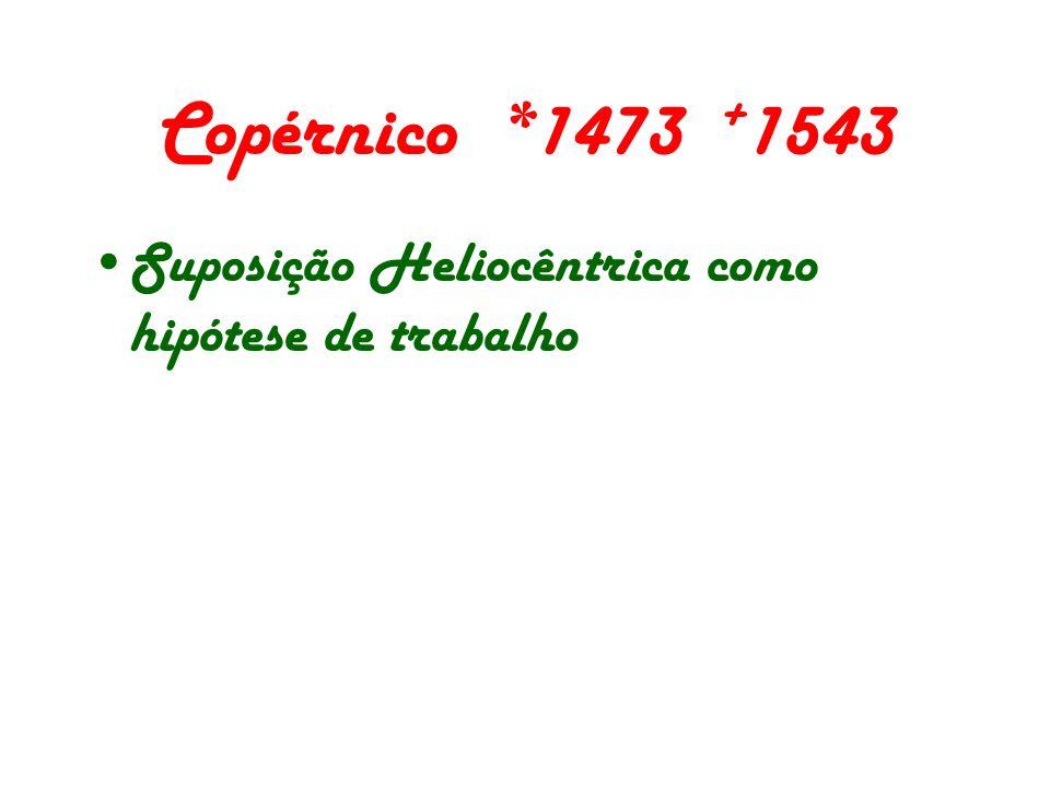 Copérnico *1473 +1543 Suposição Heliocêntrica como hipótese de trabalho