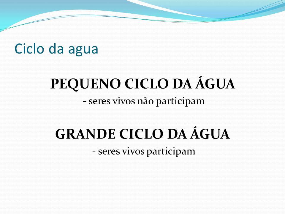 Ciclo da agua PEQUENO CICLO DA ÁGUA GRANDE CICLO DA ÁGUA