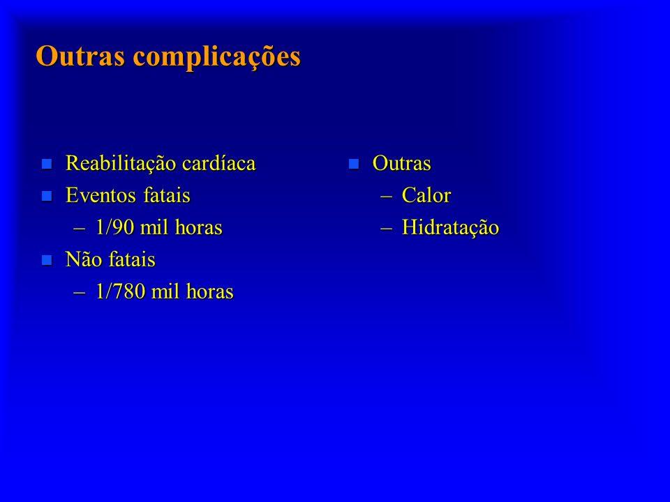 Outras complicações Reabilitação cardíaca Eventos fatais
