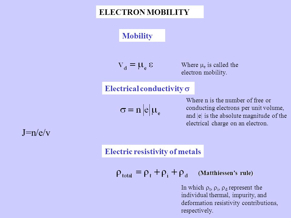 J=n/e/v ELECTRON MOBILITY Mobility Electrical conductivity 