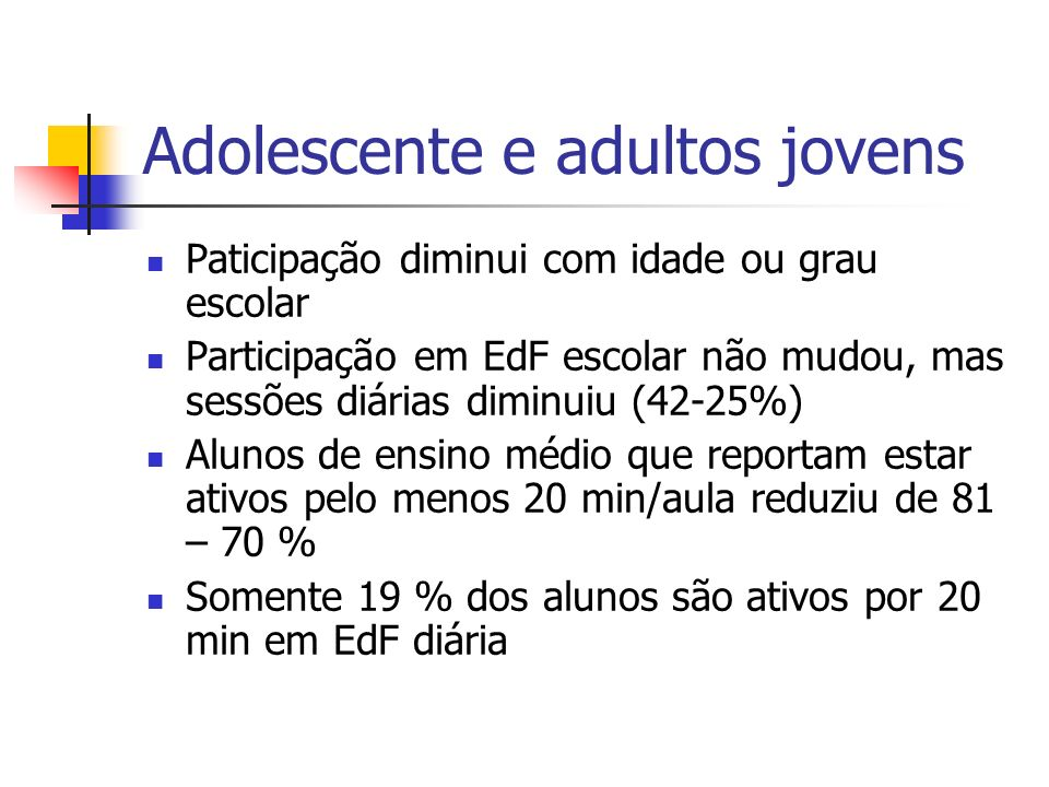 Adolescente e adultos jovens