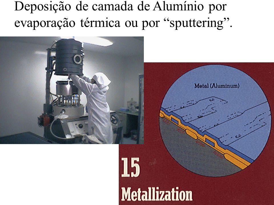 Deposição de camada de Alumínio por evaporação térmica ou por sputtering .