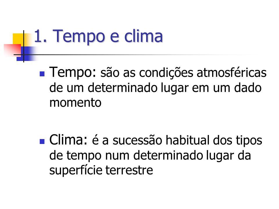 1. Tempo e clima Tempo: são as condições atmosféricas de um determinado lugar em um dado momento.