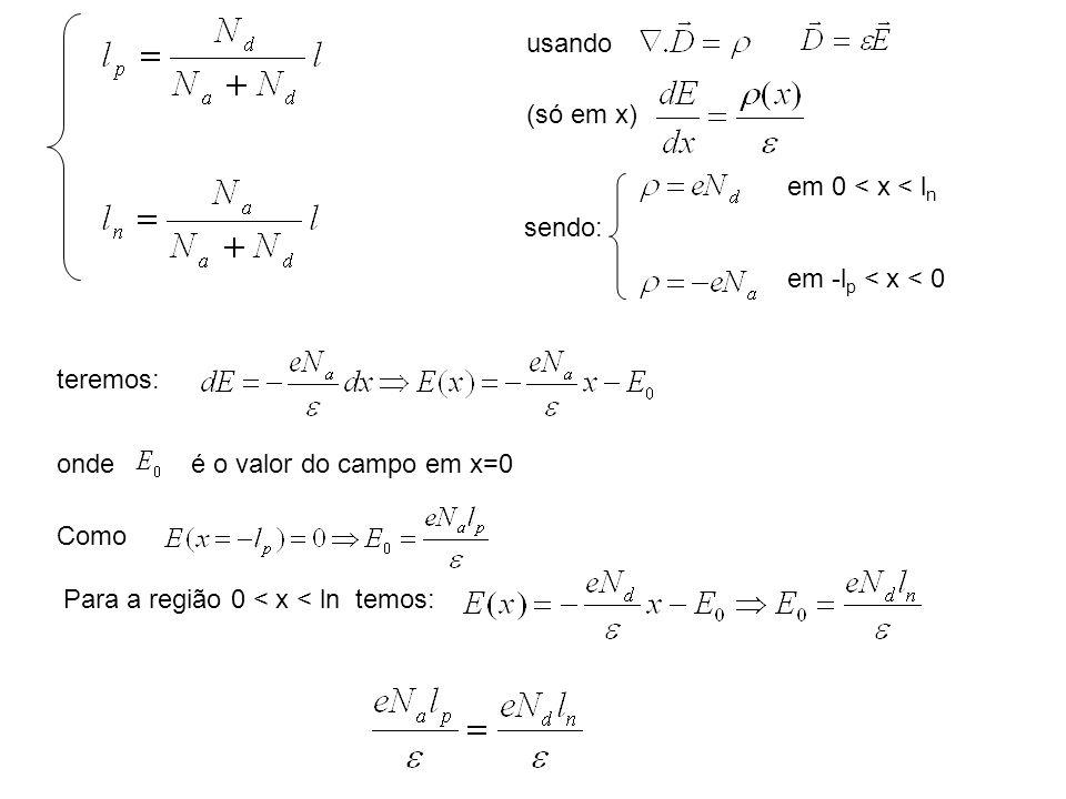 usando (só em x) sendo: em 0 < x < ln. em -lp < x < 0. teremos: onde. é o valor do campo em x=0.