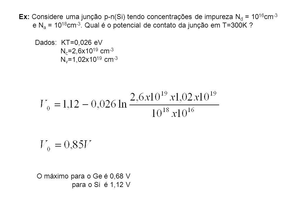 Ex: Considere uma junção p-n(Si) tendo concentrações de impureza Nd = 1016cm-3