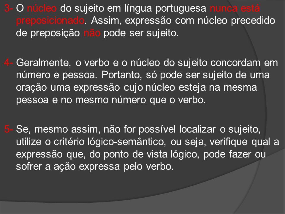 3- O núcleo do sujeito em língua portuguesa nunca está preposicionado