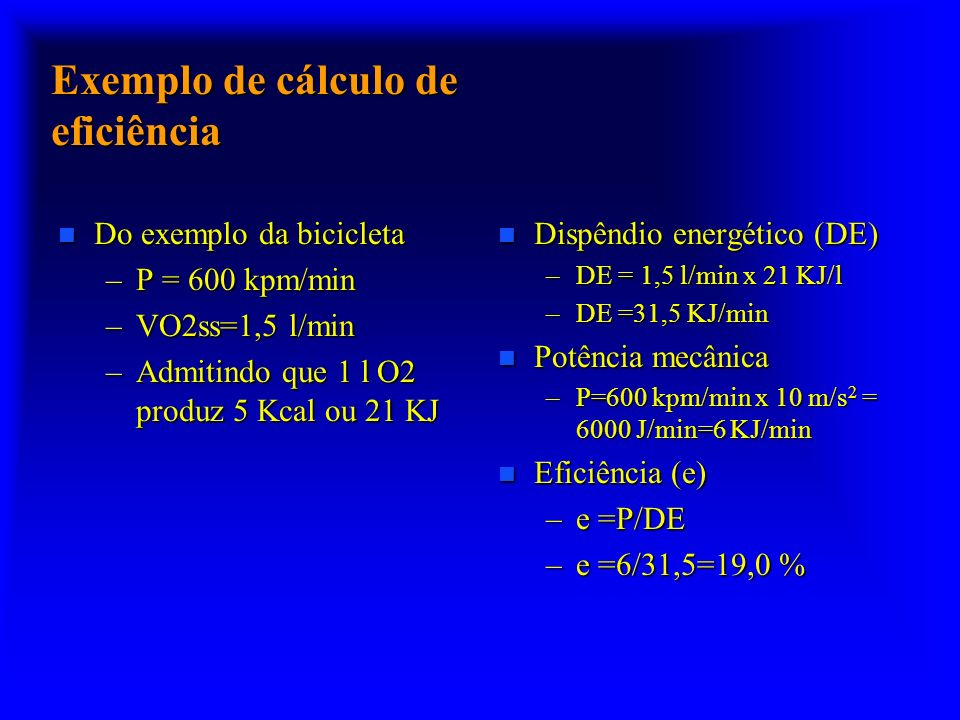 Exemplo de cálculo de eficiência