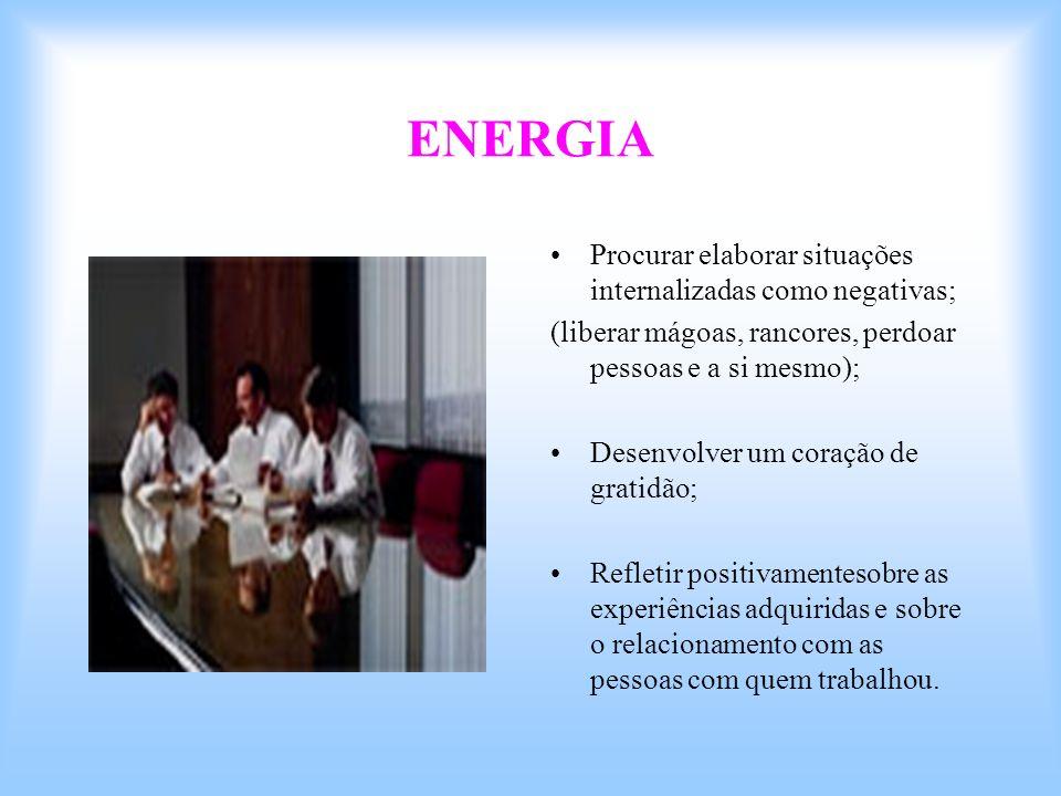 ENERGIA Procurar elaborar situações internalizadas como negativas;