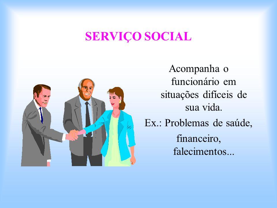 SERVIÇO SOCIAL Acompanha o funcionário em situações difíceis de sua vida. Ex.: Problemas de saúde,