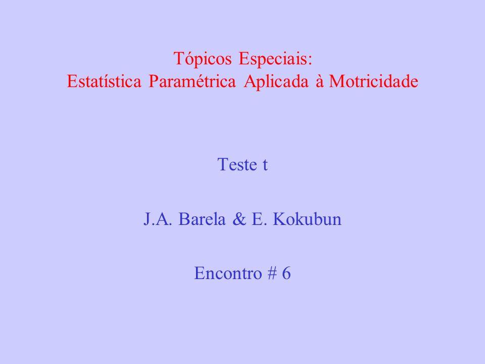 Tópicos Especiais: Estatística Paramétrica Aplicada à Motricidade