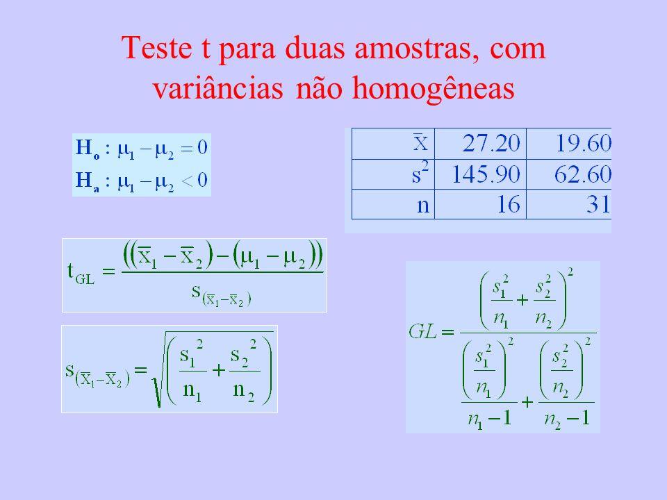 Teste t para duas amostras, com variâncias não homogêneas