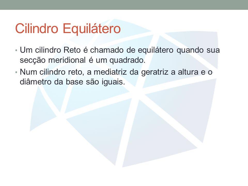 Cilindro Equilátero Um cilindro Reto é chamado de equilátero quando sua secção meridional é um quadrado.