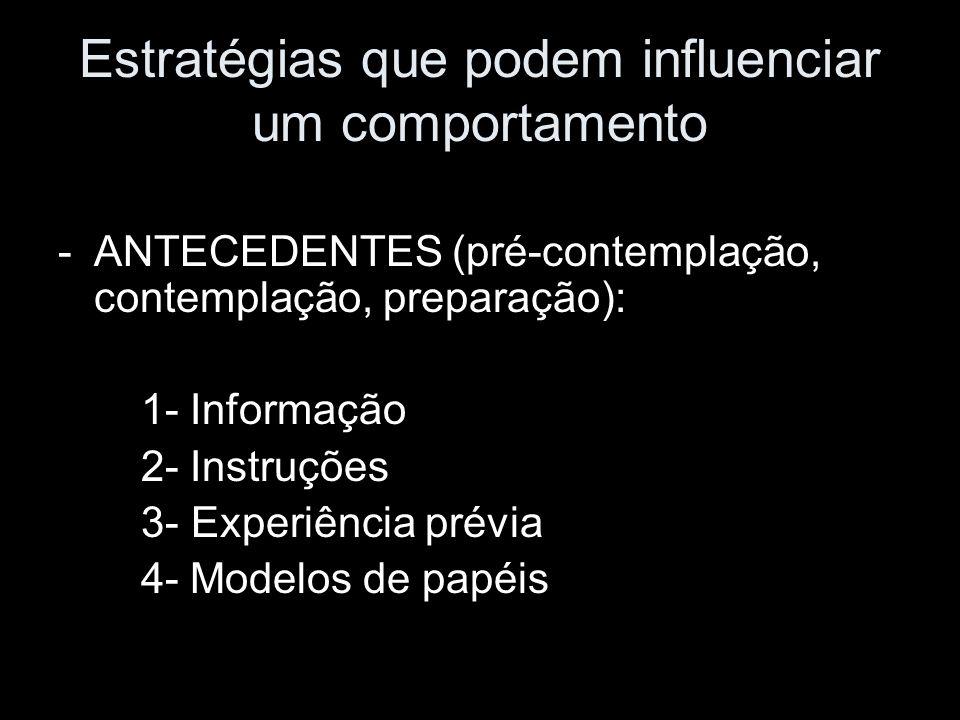 Estratégias que podem influenciar um comportamento