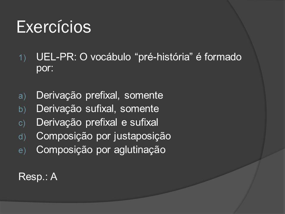 Exercícios UEL-PR: O vocábulo pré-história é formado por: