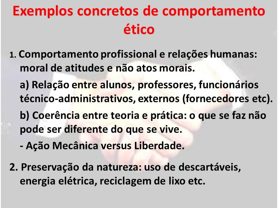 Exemplos concretos de comportamento ético