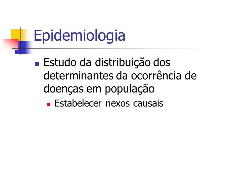 Epidemiologia Estudo da distribuição dos determinantes da ocorrência de doenças em população.