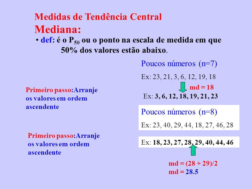 Mediana: Medidas de Tendência Central