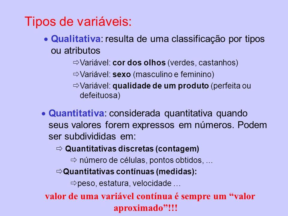 valor de uma variável contínua é sempre um valor aproximado !!!