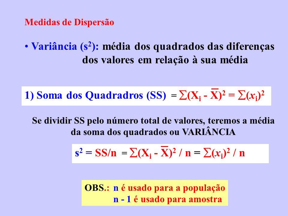 1) Soma dos Quadradros (SS) = (Xi - X)2 = (xi)2